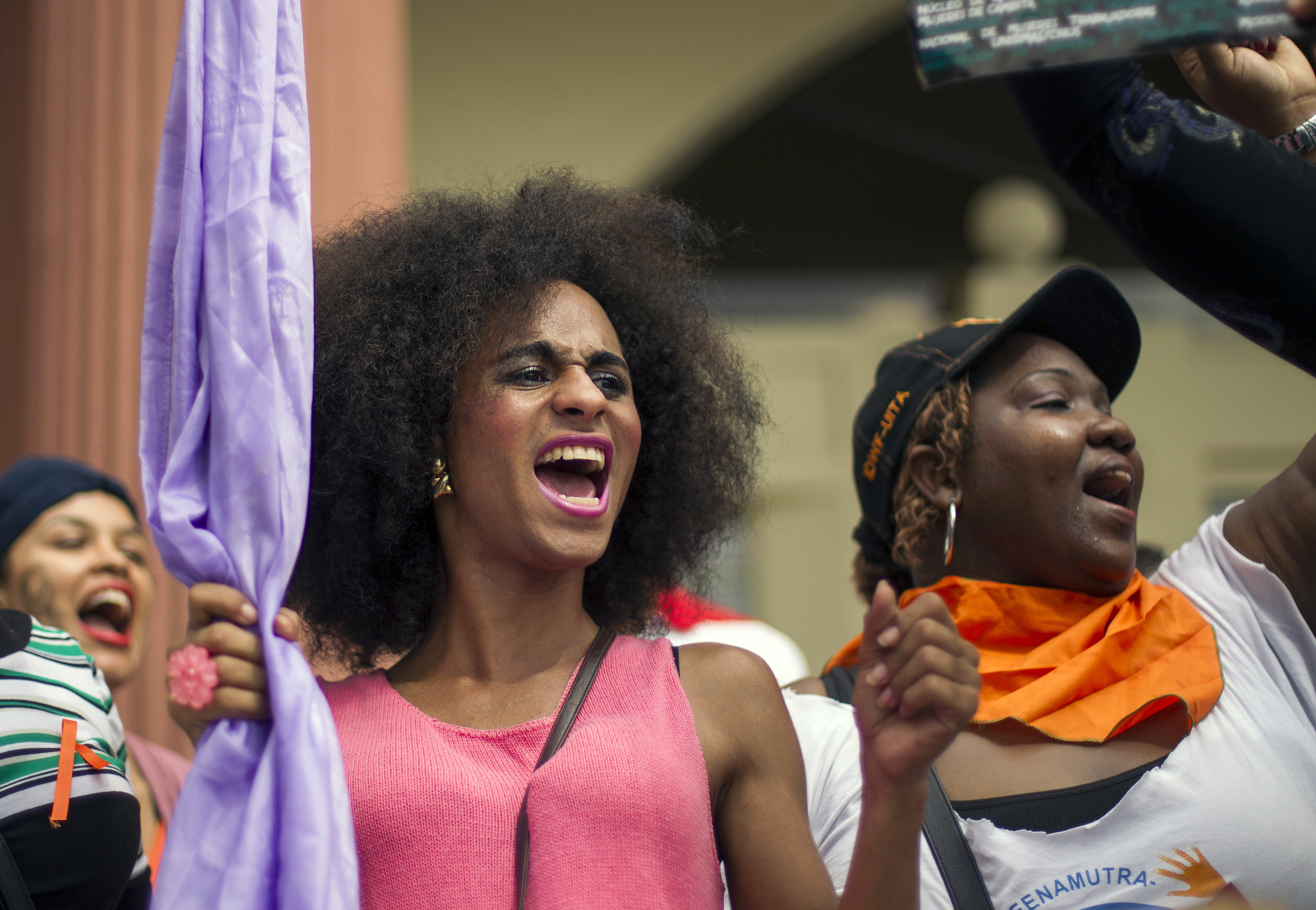 Women shout slogans during a march to commemorate UN's International Day for the Elimination of Violence Against Women, on November 25, 2014 in Santo Domingo, Dominican Republic. (Photo: ERIKA SANTELICES/AFP/Getty Images)