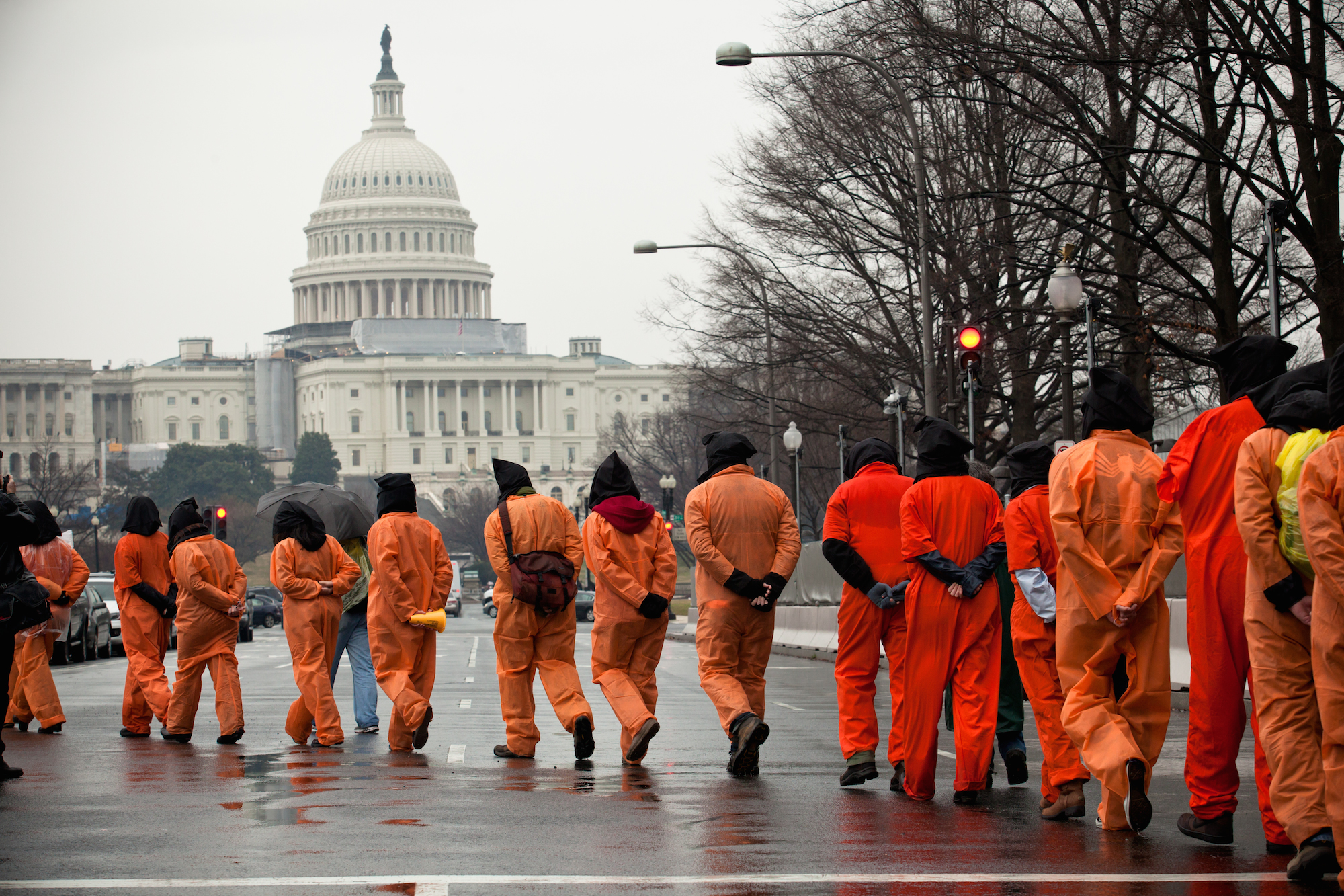 Activists protest the 10th anniversary of the Guantanamo Bay detention, Washington DC, USA, 11 January 2012.