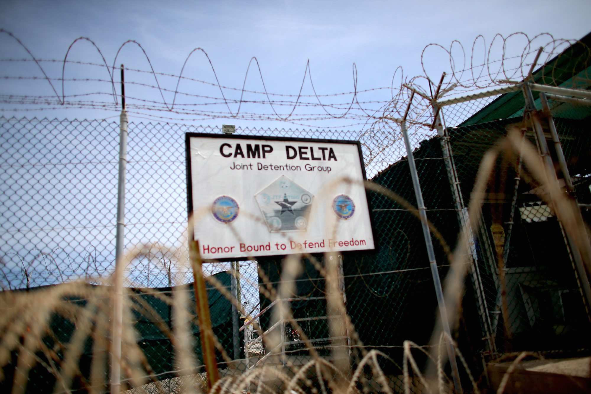 A sign stands in front of Camp Delta which is part of the U.S. military prison for 'enemy combatants' on June 25, 2013 in Guantanamo Bay, Cuba. Joe Raedle/Getty Images