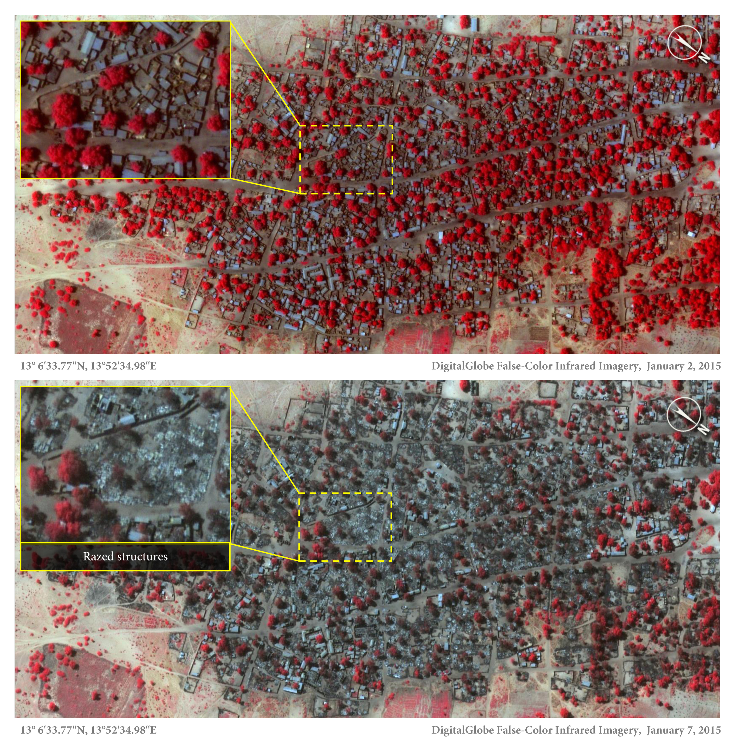 Satellite image of the village of Doro Baga (aka Doro Gowon) in north-eastern Nigeria taken on 2 Jan 2015. Image shows an example of the densely packed structures and tree cover. Satellite image 2, taken on 7 Jan 2015, shows almost all of the structures razed. The inset demonstrates the level of destruction of most structures in the town. The red areas indicate healthy vegetation.