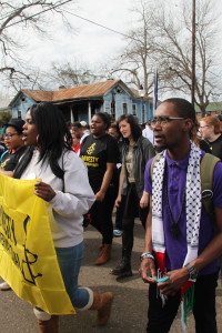 Larry Fellows III in Selma, Alabama with a group of Amnesty International USA activists