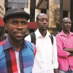 tai Dzamara (left) and fellow activists of the Occupy Africa Unity Square protest, have vowed to continue with their sit in until their demands are met by President Robert Mugabe. (Picture by Daily News)