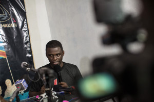 Ben Kabamba, an activist from the Congolese movement Filimbi speaks during a press conference in Kinshasa on March 15, 2015. Activists from Senegal's Yen a Marre movement and Burkina Faso's Balai Citoyen along with several Congolese activists were detained after the press conference in Kinshasa.  (Photo: FEDERICO SCOPPA/AFP/Getty Images)