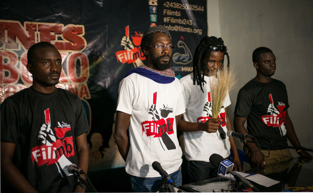 Fadel Barro, one of the leaders of Y'en a Marre (We're Fed Up) movement and Oscibi Johann, one of the leaders of Burkina Faso's Balai Citoyen (Citizens Broom) at a press conference in Kinshasa on March 15, 2015 before several activists were detained. (Photo: FEDERICO SCOPPA/AFP/Getty Images)