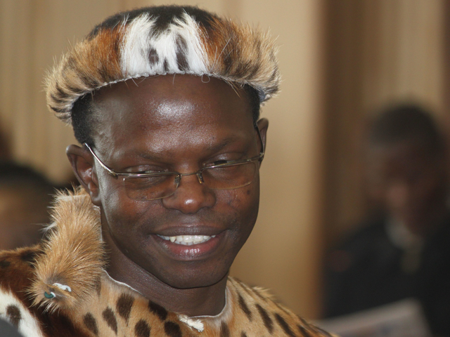 Thulani Maseko, appears in court in the traditional animal skin garb of a Zulu warrior, in Mbabane, Swaziland.  Maseko delivered a blistering attack on the Swazi judiciary and political system in a trial that has focused fresh attention on human rights issues in a country who's authoritarian system gets little scrutiny in international forums because of the country's small size and strategic insignificance.