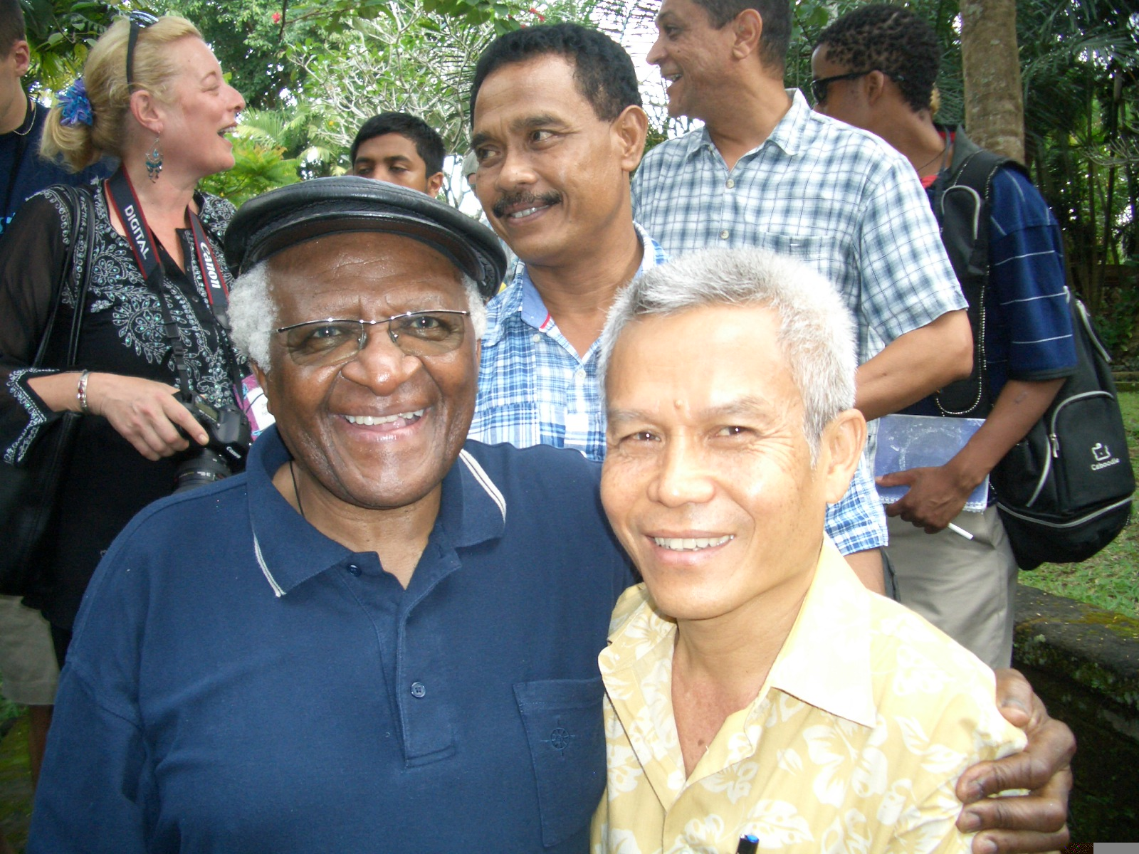Sombath Somphone with Archbishop Desmond Tutu, in Laos, 2006.