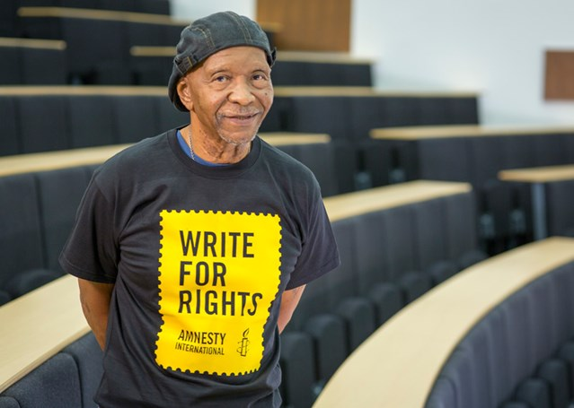 Albert's most vocal supporter, old friend and former fellow inmate Robert King, on a visit to Dundee University, UK, 15 September 2015.