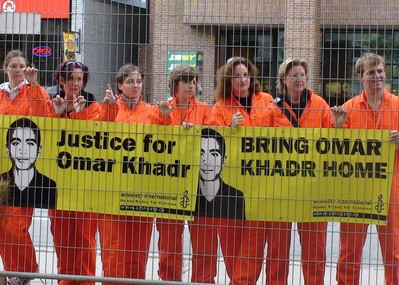 Protestors in Ottawa in 2008 demand Omar Khadr's repatriation from Guantánamo Bay to Canada. Khadr's transfer on September 29, 2012, to a maximum-security prison near Kingston, Ontario, was the beginning of a new chapter in the long struggle to ensure that the human rights issues surrounding this case are properly investigated.