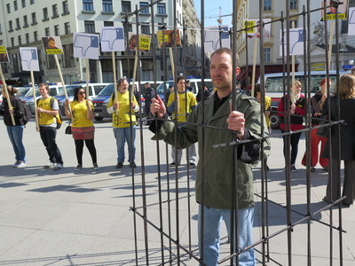 Amnesty International activists in Vienna protest human rights abuses in Azerbaijan as it prepares to chair the Council of Europe. The handover of the Chairmanship coincides with the release of Amnesty International's new report on Azerbaijan, Behind Bars: Silencing dissent in Azerbaijan, which records an increased clampdown on freedom of expression, assembly, and association following the 9 October 2013 elections. The report documents how harassment, beatings, and unfair trials, detention and imprisonment are routinely used in Azerbaijan to control and curb the voices of opposition parties, independent media outlets, and any other individuals critical of the government.