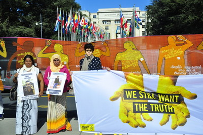 Vigil for victims of enforced disappearances in Sri Lanka, on Place des Nations in front of the UN building in Geneva, Switzerland, 12 March 2015.  Sandya Eknaligoda, wife of journalist Prageeth Enaligoda, who disappeared in Sri Lanka in January 2010. Sithy Yameena, mother of Mohamed Hakeem, who disappeared in March 2009 in Sri Lanka.