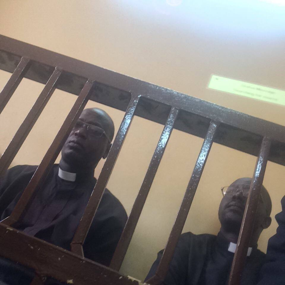 Reverend Yat Michael and Reverend Peter Yen, South Sudanese pastors, in court in Khartoum. The two pastors are members of the South Sudan Presbyterian Evangelical Church, and both were arrested while visiting Sudan's capital, Khartoum. Michael was taken into custody on Sunday 21 December 2014 after preaching that morning at a church in Khartoum.  After the service several men who identified themselves as Sudanese government security officers demanded that Michael went with them and took him away without giving further explanation.  Pastor Peter Yen was arrested on 11 January 2015 after he delivered a letter to the Religious Affairs Office in Khartoum asking about his colleague Michael's arrest in December.