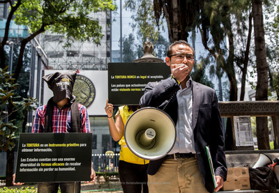 Amnesty Mexico action against torture outside the Attorney General office in Mexico City on International Day for Victims of Torture, 26 June 2015.