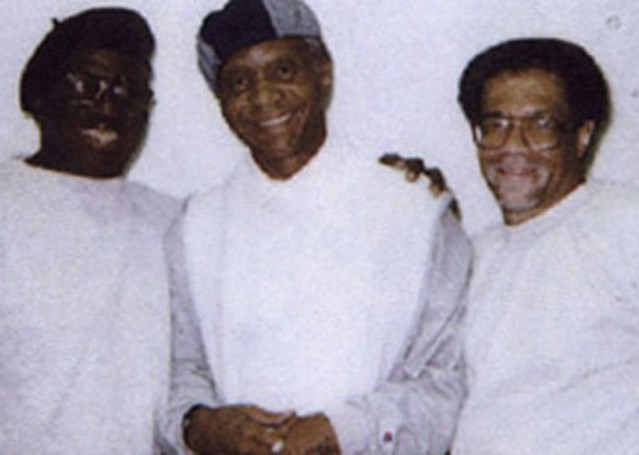 The only existing photo of the Angola Three together: Herman Wallace (left), Robert King (centre) and Albert Woodfox, Angola prison, Louisiana, 2001.