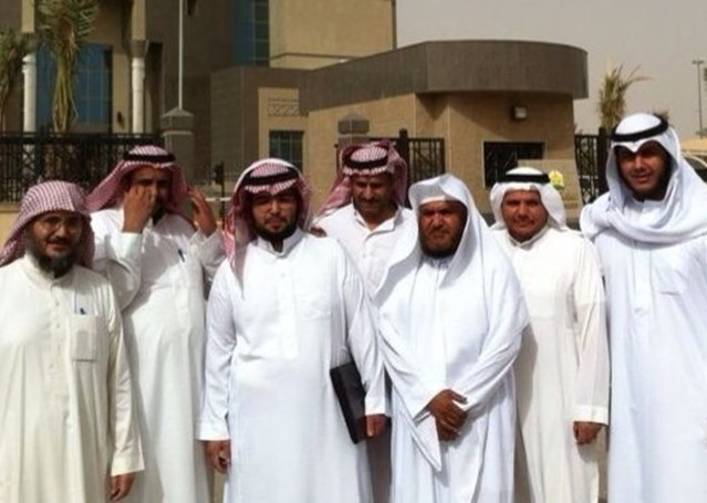 Human rights defenders Dr Abdulrahman al-Hamid (far left) and Dr Abdulkareem al-Khoder (third right) with other members and supporters of the Saudi Civil and Political Rights Association (ACPRA).