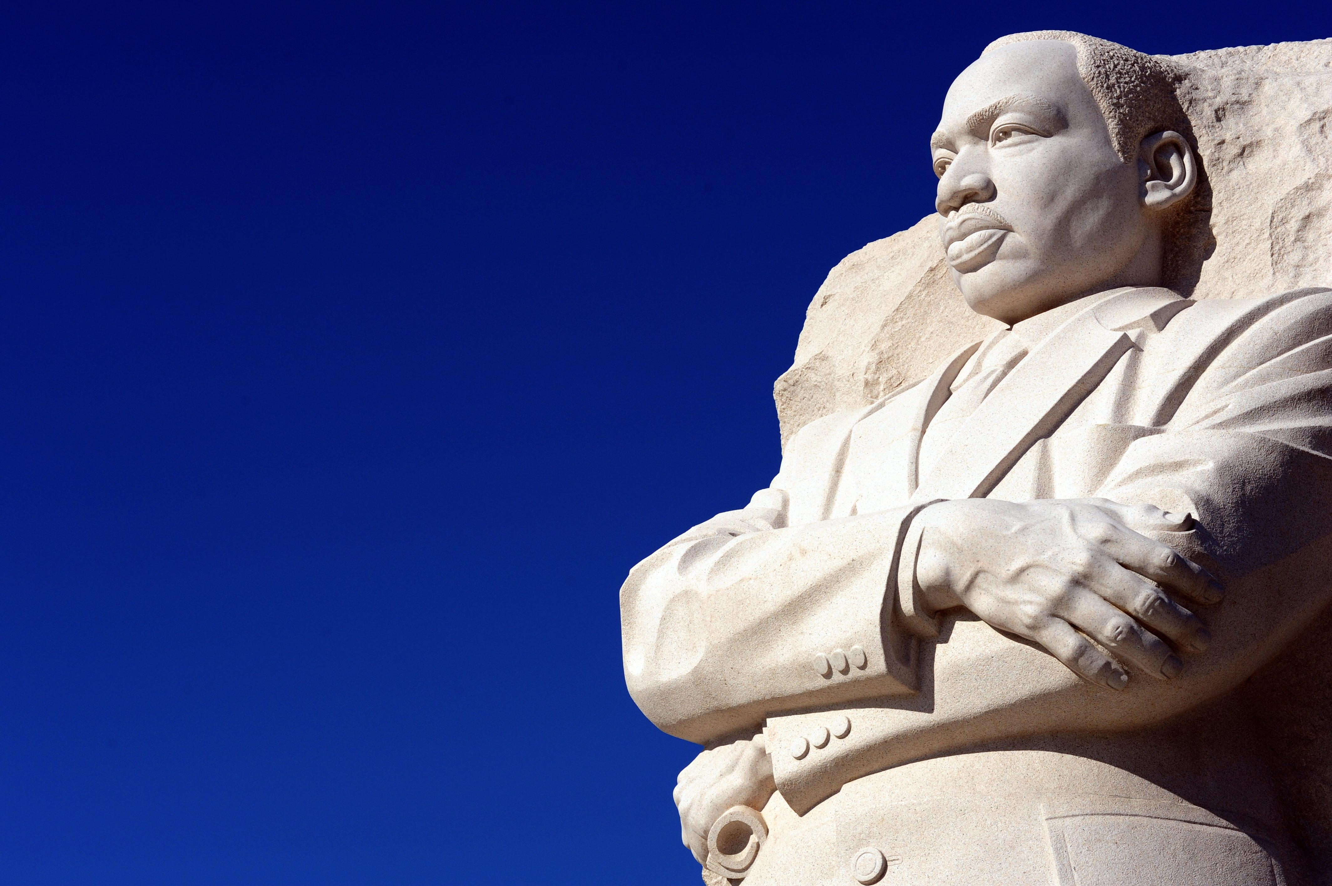 The Martin Luther King, Jr sculpture is seen at the MLK Memorial December 1, 2011 in Washington, DC. (KAREN BLEIER/AFP/Getty Images)