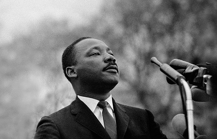 Martin Luther King Jr. speaks to the crowds at Montgomery.  Photo: Stephen Somerstein