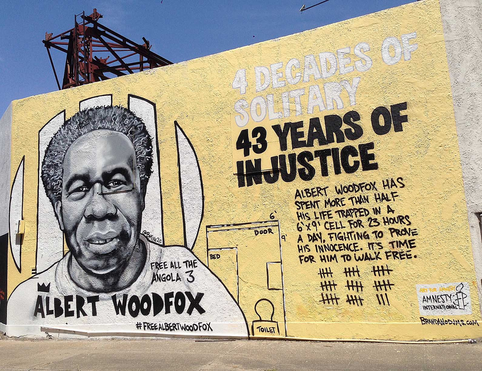 Brandan 'Bmike' Odums' mural of Albert Woodfox in New Orleans, Louisiana