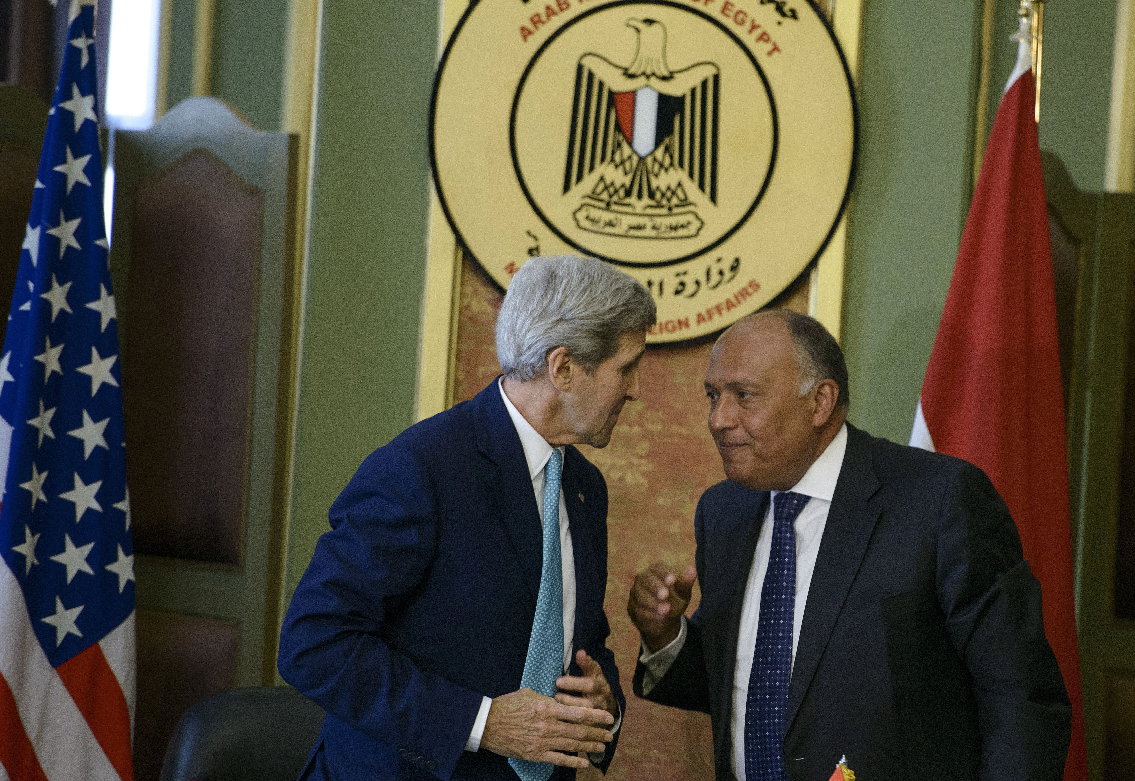 US Secretary of State John Kerry (L) and Egypt's Foreign Minister Sameh Shoukry. BRENDAN SMIALOWSKI/AFP/Getty Images)