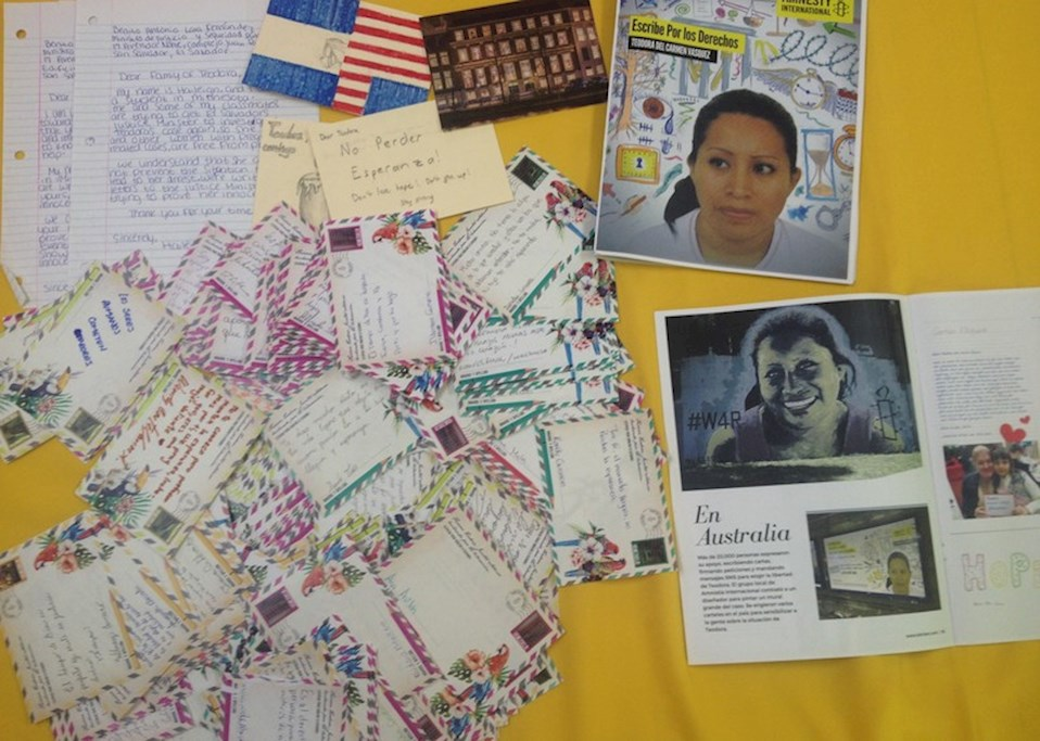 Solidarity letters for Teodora from Amnesty activists. Teodora was not allowed to receive them, so we sent them to her sister Cecilia. © Amnesty International